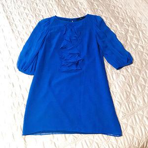 TIBI Ruffle-Front Silk Shift Dress in Cobalt Blue